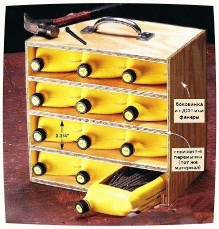 ящики для інструментів з пластикових пляшок, фото з сайту secretdachi.ru