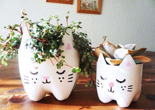 горщики для квітів з пластикових пляшок, фото з просторів інтернету