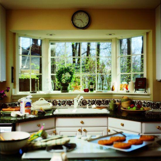 Робоча зона кухні в еркерний частини