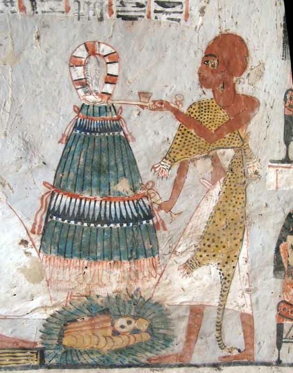 Зображення зеленої цибулі на стінах гробниці в долині мертвих.