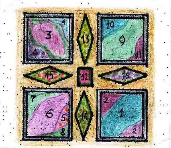 Квадратний город в пурпурно-зеленій гамі
