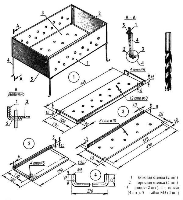 Схема металевого мангала