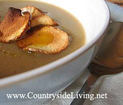 Суп з топінамбура з печеним часником