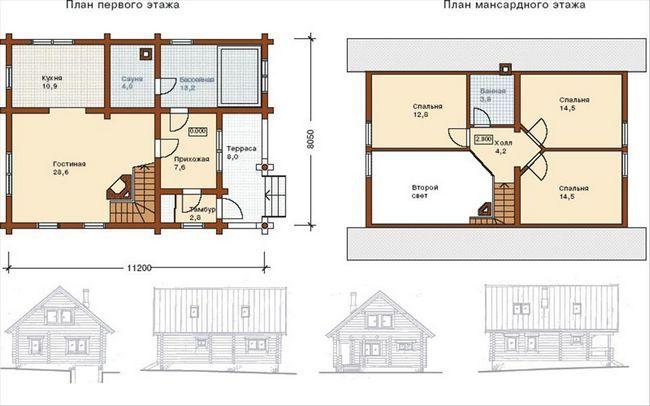 План двоповерхового будинку 8x8
