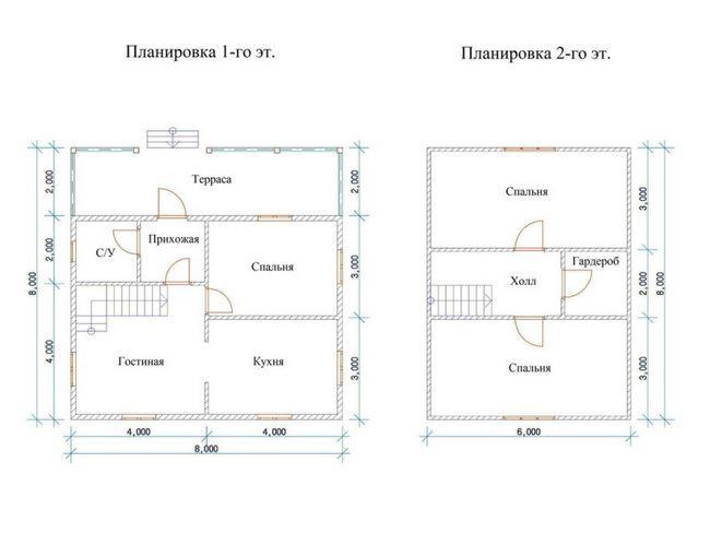 Планування будинку 8х8
