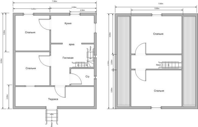 План будинку 8x7