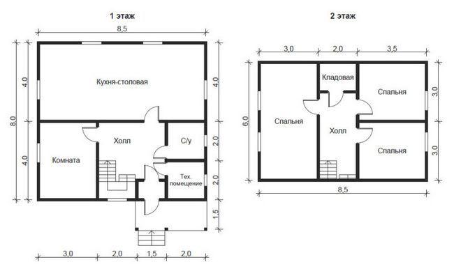 План будинку 8x8.5
