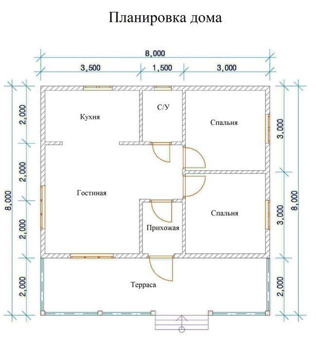 План одноповерхового будинку 8x8