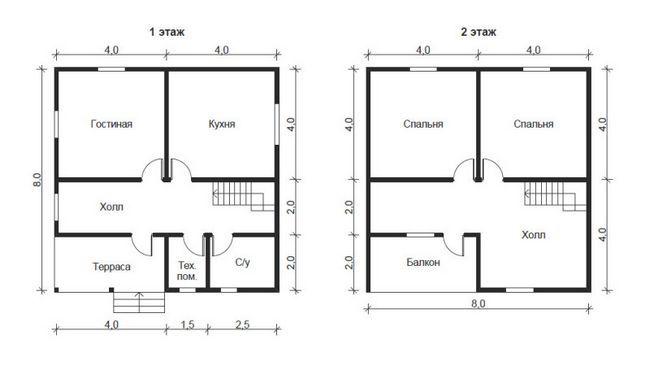 Планування будинку 8x8