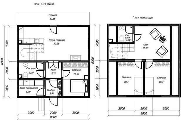 План будинку 8x8 даухетажного