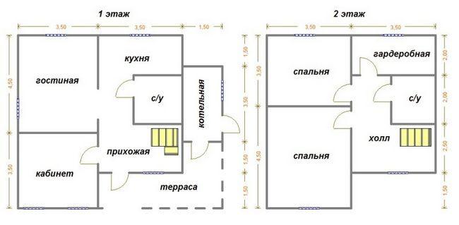 Креслення двоповерхового будинку 8x8
