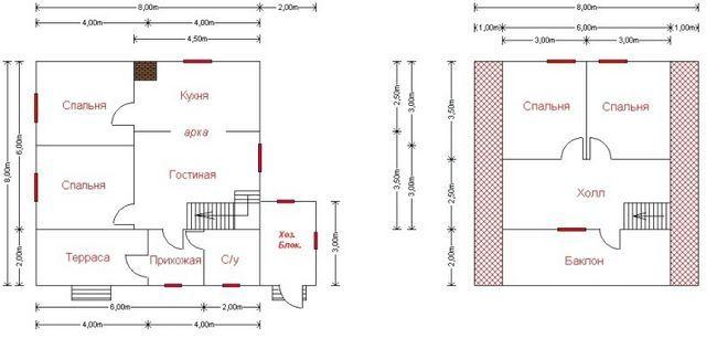 Планування будинку 2 поверхи 8x8