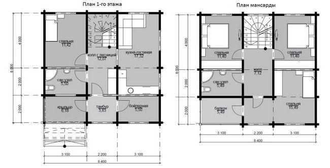 Креслення будинку 8x8 в два поверхи