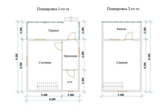 Креслення двоповерхового будинку 6х8 метрів