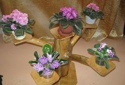 Підставка під квіти з чурбачков і драбини