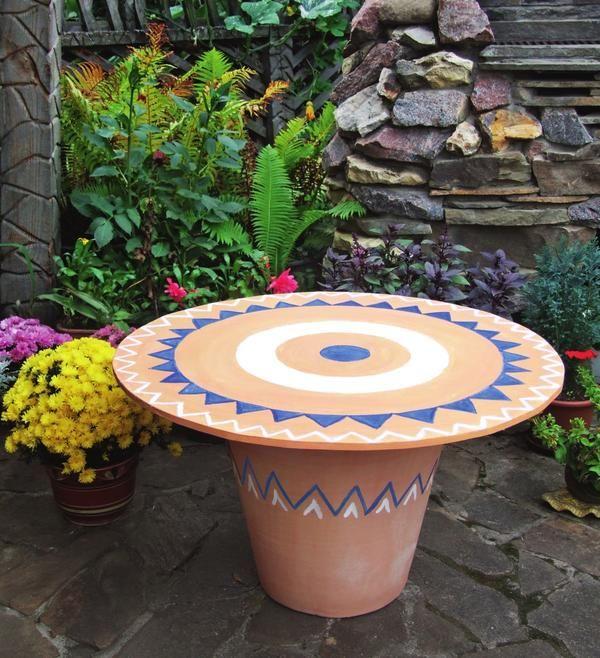 Садовий столик з горщика: майстер-клас