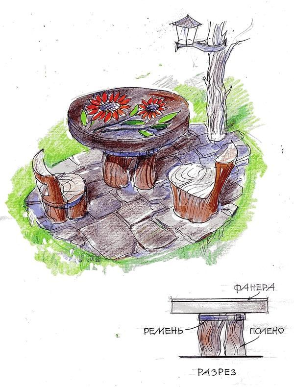 Столик з дров