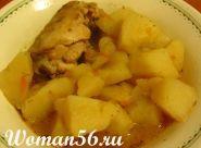 Тушкована курка з картоплею